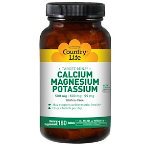 Calcium, Magnesium, and Potassium, 500 mg : 500 mg : 99 mg, 180 Tablets, Country Life