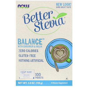 Better Stevia, Balance, Chromium + Inulin, Zero calories, 100 Packets, Now Foods