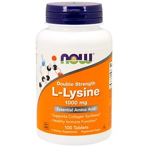 Lysine, L-Lysine Double Strength, 1,000 mg, 100 Tablets, Now Foods