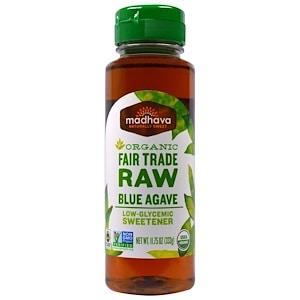 Organic Blue Agave Nectar, Raw, 11.75 oz (333 g), Madhava