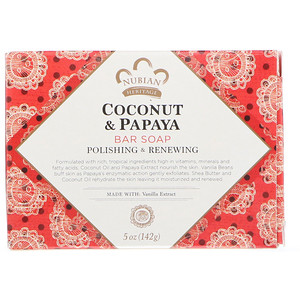 Coconut + Papaya Soap, 5 oz (141 g), Nubian Heritage