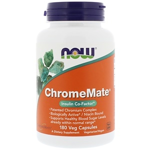 ChromeMate, Insulin Co-factor, HCG diet, 180 capsules, Now Foods