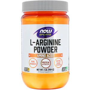L-Arginine Powder, 1lb (454 g), Sports, Now Foods