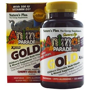 Children's Chewable Multi-Vitamin & Mineral Supplement, Natural Assorted Flavours, 120 Animals, Nature's Plus, Source of Life Animal Parade Gold
