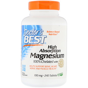High Absorption Magnesium 100% Chelated with Albion Minerals, 100 mg, 240 Tablets, Doctor's Best