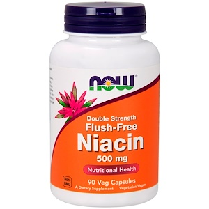Niacin, Flush-Free, Double Strength, Vitamin B3, 500 mg, 90 Veg caps, Now Foods