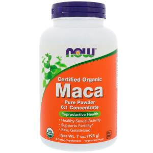 Maca, Pure Powder, Certified Organic, 7oz (198g), Now Foods