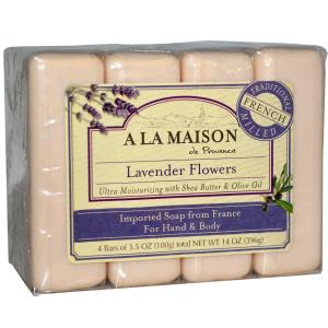 Lavender Flowers Bar Soap, with Shea Butter + Argan Oil, 4 Bars, 3.5oz Each, A La Maison de Provence