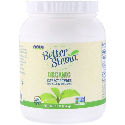 Better Stevia, Extract Powder, Certified Organic, 1 lb (454 g), Now Foods