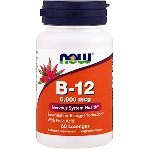 B-12, 5,000 mcg, 60 Lozenges, Now Foods