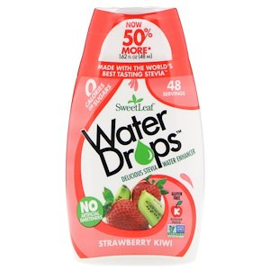 SweetLeaf, Water Drops, Delicious Stevia Water Enhancer, Strawberry Kiwi, 1.62 fl oz (48 ml), Wisdom Natural