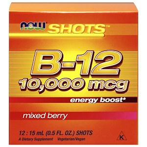 Shots, B12, Mixed Berry, 10,000 mcg, 12 Shots, 0.5 fl oz (15 ml) Each, Now Foods