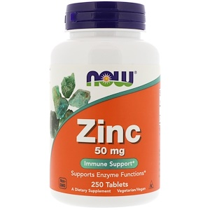 Zinc, 50 mg, 250 Tablets, Now Foods