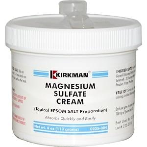 Magnesium Sulfate Cream, 4 oz (113 g), Kirkman Labs