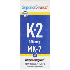 Vitamin K-2, 100 mcg, 60 Microlingual Instant Dissolve Tablets, Superior Source