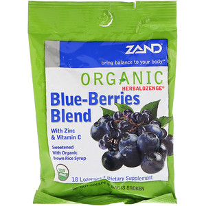 Herbalozenge, Organic, Blue-Berries Blend, 18 Lozenges, Zand