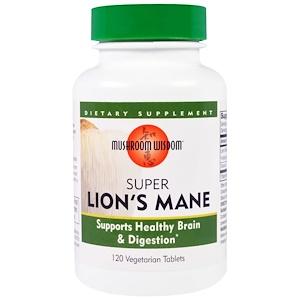 Lion's Mane, Super, 120 Veggie Tabs, Mushroom Wisdom