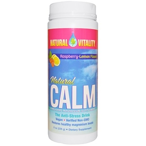 Natural Calm, The Anti-Stress Drink, Organic Raspberry-Lemon Flavor, 8 oz (226 g), Natural Vitality