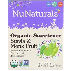 Stevia and Monk Fruit, Organic Sweetener, 35 Packets, 1.24 oz (35 g), NuNaturals