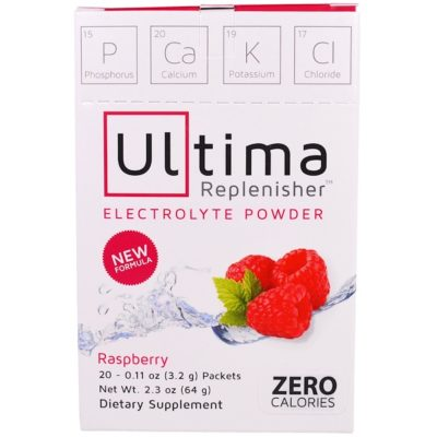 Electrolyte Powder, Raspberry, 20 Packets, 0.11 oz (3.2 g) Each, Ultima Replenisher