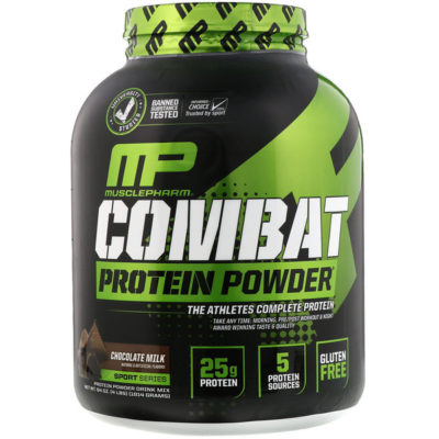 Combat Protein Powder, Chocolate Milk, 4 lbs (1814 g), MusclePharm Description • Unversity Studied • Banned Substance Tested • Informed-Choice Trusted by Sport • The Athletes Complete Protein • Take Anytime: Morning, Pre/Post Workout & Night • Award Winning Taste & Quality • Natural & Artificial Flavors • Sport Series • Protein Powder Drink Mix • 25 g Protein • 5 Protein Sources • Gluten Free • Made in a cGMP Registered Facility • Real Athletes. Real Science • Performance • Strength • Build Muscle • Time Released Protein Fuels Muscles & Performance For Hours! People who train hard demand a superior and more effective protein. To maximize lean muscle growth and recovery ensuring proper protein utilization, MusclePharm scientist fortified Combat Protein Powder with a variety of protein blend that digest at varying rates - this helps fuel your muscles longer. The great-tasting, easy-mixing digestive blend is fine-tuned for true nutrient utilization-a-step ahead in protein powder technology. Most other protein product seem to be okay with the status quo, the minimum. But ask yourself: do you give your workout minimum effort? MusclePharm scientists over-delivered. Combat Protein Powder is precision-engineered with whey protein concentrates, hydrolysates and isolates, egg albumin, and micellar casein. These help create a muscle-building environment for longer periods of time, which results in greater muscle building, recovery and performance. Key Features • 25 g of Award Winning Taste & Easy to Mix Protein • 5 Powerful Protein: Fast & Slow Digesting • Take It Anytime: Morning, Pre/Post Workout & Night • Gluten-Free Benefit From 5 Protein Sources Fast Digesting Whey Protein Hydrolysate Broken down into fast-absorbing peptides, this rapidly infuses muscle-building amino acids. Whey Protein Isolate Digests and absorbs rapidly and is, gram for gram, the highest available yield of protein. Whey Protein Concentrate Closest to whole food and contains real subfractions. Slow Dige