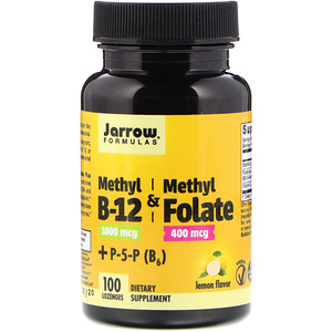 B12, Methyl B-12 + Methyl Folate, Lemon Flavor, 1000 mcg / 400 mcg, 100 Lozenges, Jarrow Formulas