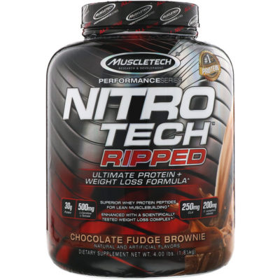 Nitro Tech Ripped, Ultimate Protein + Weight Loss Formula, Chocolate Fudge Brownie, 4 lbs (1.81 kg), Muscletech