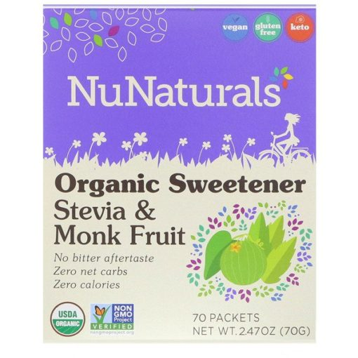 Stevia and Monk Fruit, Organic Sweetener, 70 Packets, 2.47 oz (70 g), NuNaturals