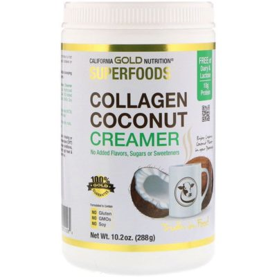 Collagen Coconut Creamer Powder, Unsweetened, 10.2 oz (288 g), California Gold Nutrition, Superfoods