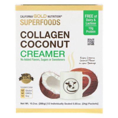 Collagen Coconut Creamer, Unsweetened, 12 Packets 0.85 oz (24 g) Each, California Gold Nutrition, Superfoods