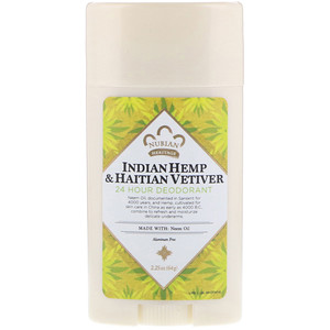 Deodorant, 24 Hour, Indian Hemp & Haitian Vetiver, 2.25 oz (64 g), Nubian Heritage