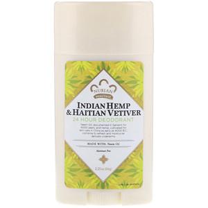 Deodorant, 24 Hour, Indian Hemp & Haitian Vetiver, 2.25 oz (64 g), Nubian Heritage