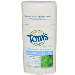 Deodorant, Aluminum-Free, Natural Long Lasting, Maine Woodspice, 2.25 oz (64 g), Tom's of Maine