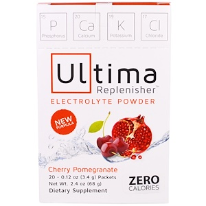 Electrolyte Powder, Cherry Pomegranate, 20 Packets, 0.12 oz (3.4 g), Ultima Replenisher