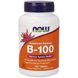 B-100, Sustained Release, 100 Tablets, Now Foods