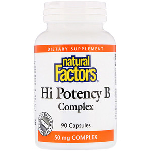 B Complex, Hi Potency, 90 Capsules, Natural Factors