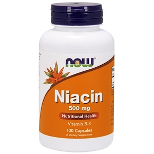 Niacin, 500 mg, 100 Capsules, Now Foods