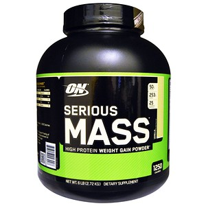Serious Mass, High Protein Weight Gain Powder, Vanilla, 6 lbs (2.72 kg), Optimum Nutrition