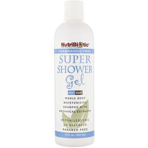 Super Shower Gel, Non-Soap, Fragrance Free, 12 fl oz (355 ml), NutriBiotic