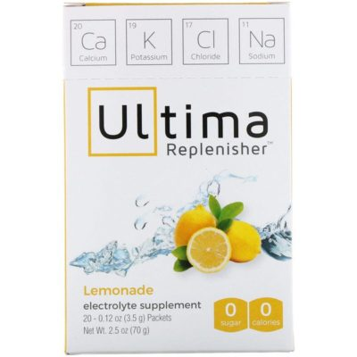 Electrolyte Powder, Lemonade, 20 Packets, 0.12 oz (3.5 g) Each, Ultima Replenisher