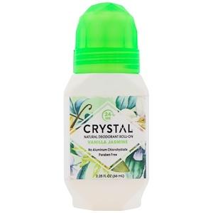 Deodorant Roll-On, Vanilla Jasmine, Natural, 2.25 fl oz (66 ml), Crystal Body Deodorant