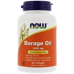 Borage Oil, 1000 mg, 60 Softgels, Now Foods