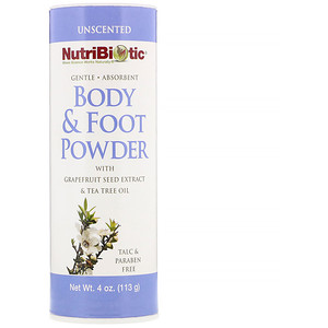 Body & Foot Powder with Grapefruit Seed Extract & Tea Tree Oil, Unscented, 4 oz (113 g), NutriBiotic