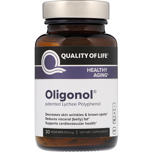 Oligonol, 100 mg, 30 VegiCaps, Quality of Life Labs
