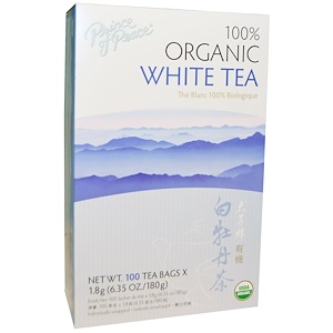 White Tea, 100% Organic, 100 Sachets, 1.8 g Each, Prince of Peace