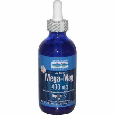 Mega-Mag, Natural Ionic Magnesium with Trace Minerals, 400 mg, 4 fl oz (118 ml), Trace Minerals Research